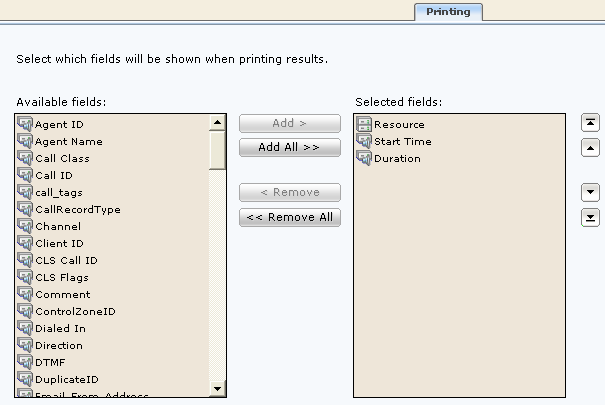 Printing page Enables you to select which order the fields are printed in the printed table of recording details when using the Printing Wizard (see Printing recording details).