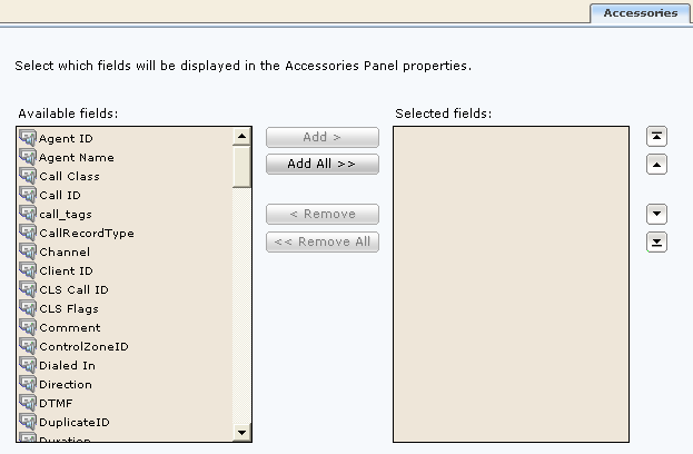 Accessories page Enables you to select which fields you wish to display in the Accessories panel windows when