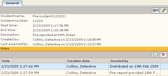 Incident Details tabs General page The General page is relevant to all folders in the Incident Folders tree.