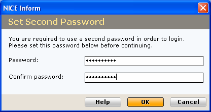 2 If within the User Administration application, the Require second password option is selected at the Organization level and a user does not have the second password set on an individual level, then