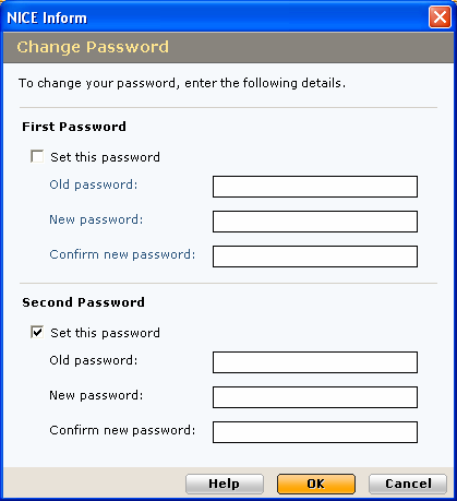 Changing your second password If you login to NICE Inform with a second password, then when changing your password you will be presented with a different Change Password dialog: First Password 1