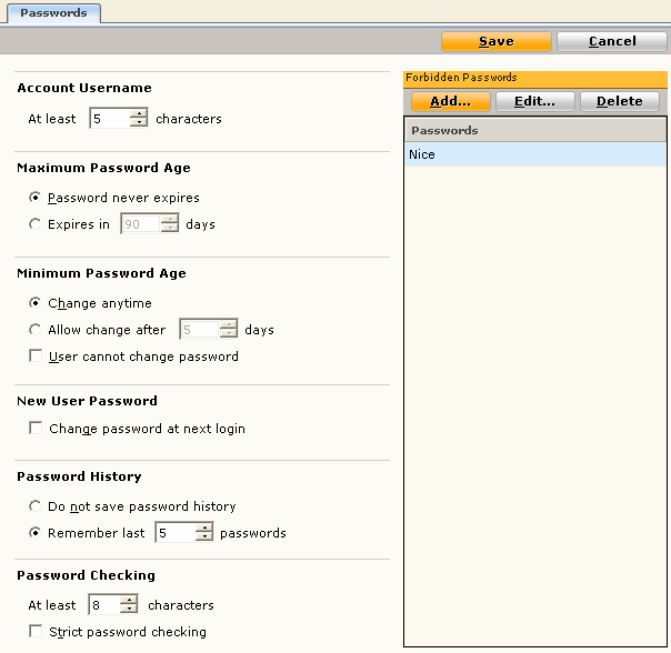 Setting password details NOTES: Setting password details at the Organization level affects ALL users of NICE Inform the next time they log in.