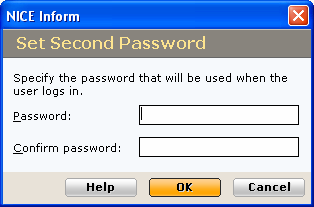 Type and retype the new password, then click OK to close the dialog. An error message will be displayed if you have not entered the password correctly.