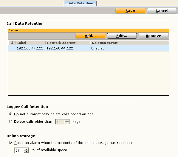 Configuring data retention The data retention feature enables you to delete any CLS data (including CLS calls, ANI/ALI data & annotations) older than a configurable retention period.