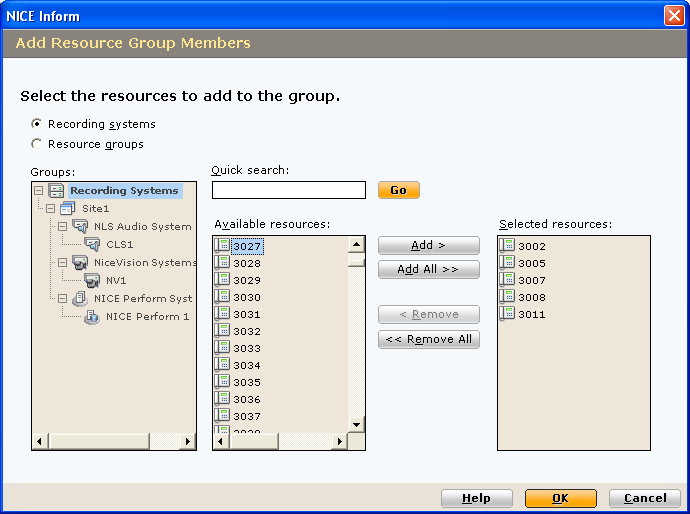 2 Select the members to be added to the Group (optional): a b Select the required group, either Recording Systems or Resource Groups. Select the required resources.