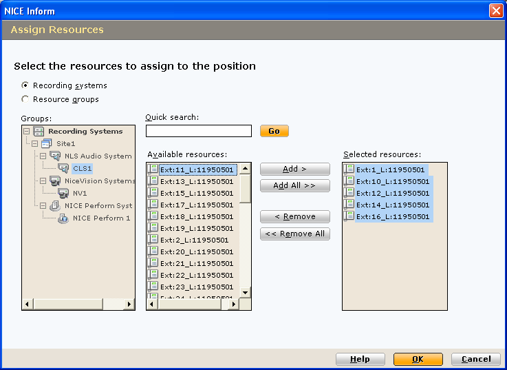 4 Select either Recording systems or Resource groups from within the Groups tree. 5 Select the resource(s) to be assigned. The Quick Search facility enables you to find the required resource(s).