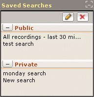 Saved Searches panel The Saved Searches panel, (a sub-panel of the Search panel), lists the various searches that have been saved.
