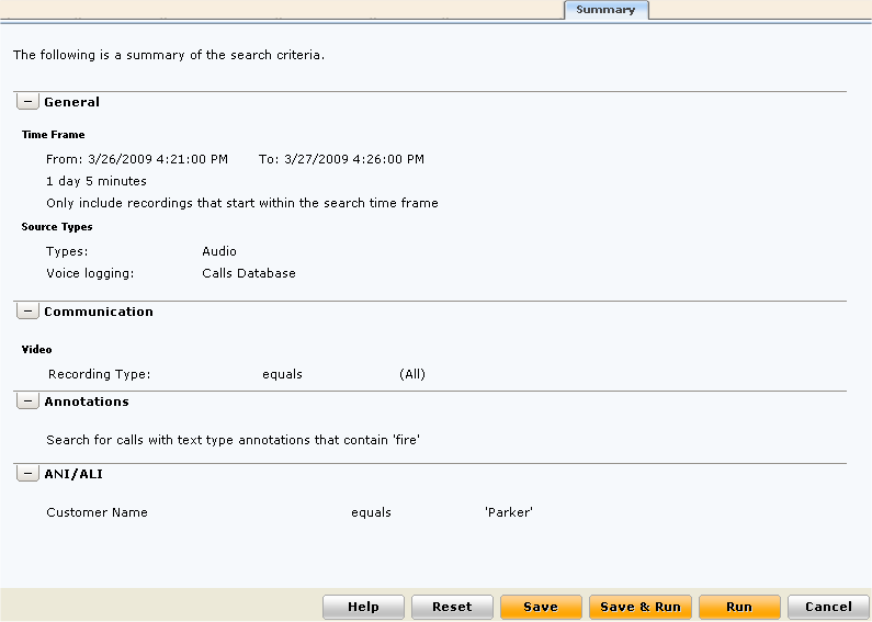 Summary page Presents a summary of the search criteria