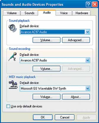 Internal Default Sound Card This option is only recommended if problems are encountered during Genelec Sound Card Installation.