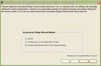 Running AutoCal AutoCal can be run at the end of either Cabling Wizards or from the GLM Main Page menu Setup GLM Acoustic Wizard.