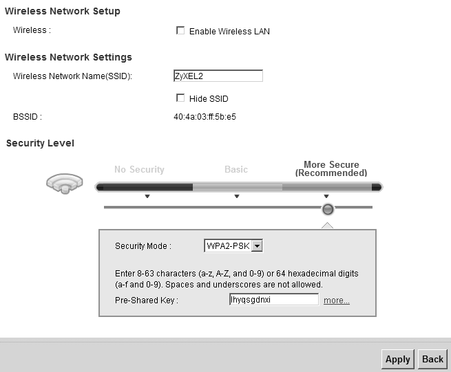 Chapter 6 Wireless Table 17 Network Settings > Wireless > More AP LABEL DESCRIPTION Security This field indicates the security mode of the SSID profile.