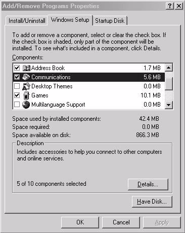 Chapter 7 Home Networking 2 Click the Windows Setup tab and select Communication in the Components