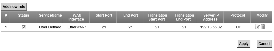 See Appendix E on page 359 for port numbers commonly used for particular services. Figure 77 Network Setting > NAT > Port Forwarding The following table describes the fields in this screen.