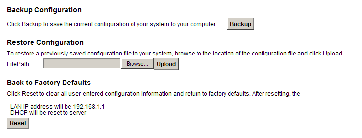 CHAPTER 24 Backup/Restore 24.1 Overview The Backup/Restore screen allows you to backup and restore device configurations. You can also reset your device settings back to the factory default. 24.2 The Backup/Restore Screen Click Maintenance > Backup/Restore.