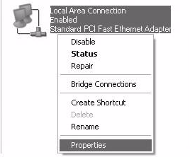 Appendix B Setting Up Your Computer s IP Address 3 Right-click Local Area Connection