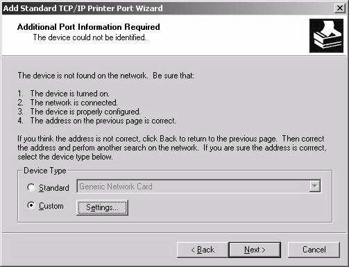 Note: The computer from which you are configuring the TCP/IP printer port must be on the same LAN in order to use the printer sharing function.