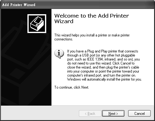 1 Click Start > Control Panel > Printers and Faxes to open the Printers and Faxes screen. Click Add a Printer.