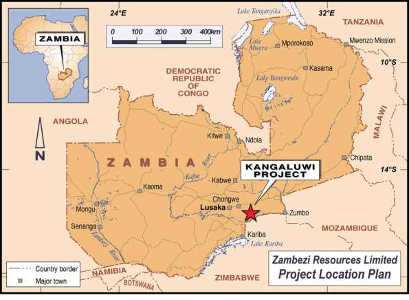 Operations Review 1.0 The Kangaluwi Copper Project FIGURE 1: MAP OF ZAMBIA SHOWING KANGALUWI COPPER PROJECT LOCATION 1.