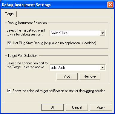 Basic debugging features 5.1 Selecting the debug instrument Your choice of target microcontroller and debugging hardware determine what features you will have access to when debugging.