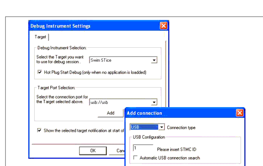 STMC ID field, to create an option that identifies a specific USB port (see Figure 105), or place a checkmark in the Automatic USB Connection