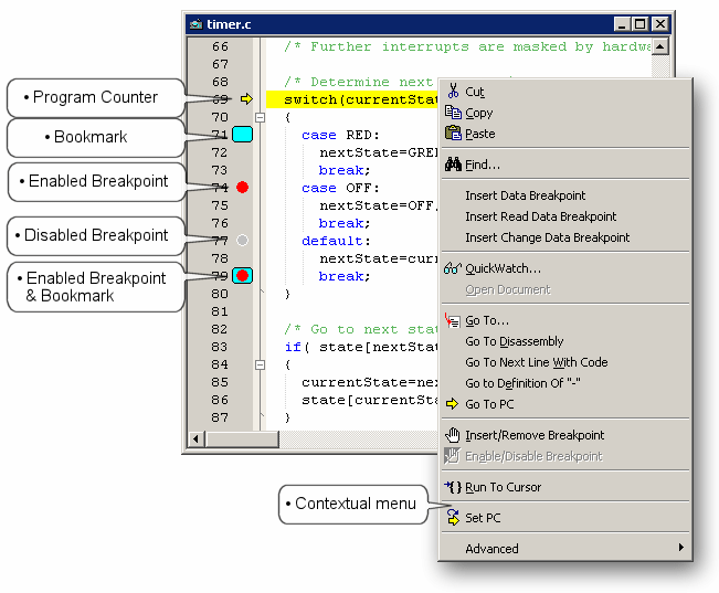 Basic debugging features 5.4.1 Editor debug margin The left margin of an Editor window is a special area for placing debugging icons. Figure 111.