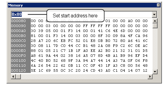 Basic debugging features The search and edit options Find, Find Next and Replace may be used in the Memory window, to locate either hexadecimal or ASCII strings. Figure 124. Memory window 5.7.