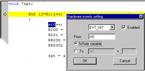 DVP and EMU2 (HDS2) emulator features Figure 171. Hardware events window (DVP2 emulators) Right-click the mouse. The Editor contextual menu opens. Select Add Hardware Event.