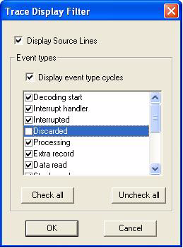 STice features Figure 198. Trace Display Filter dialog box Filter lines: Trace records can be filtered using the Trace Display Filter dialog box (Figure 198).
