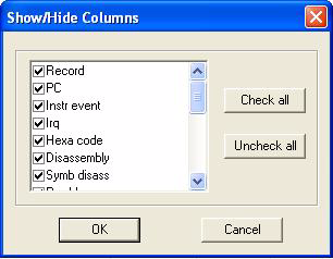 STice features select Column Display in the Trace contextual menu. This opens a list of all the columns available in the trace record. Figure 200.