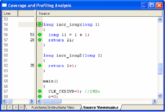 STice features Figure 208. Data coverage and profiling analysis: source view The green spot in the margin identifies the lines of code that are executed.