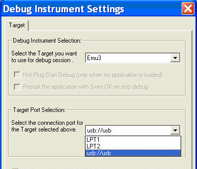 Getting started with STVD Figure 10. Debug instrument target port selection The SWIM debugger has two additional parameters to define the target connection: 1.