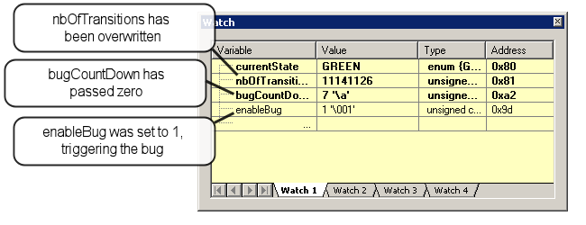 STM8 C tutorial Figure 290. Memory and Watch windows 6. In the Editor window, locate the bugcountdown variable, select it and drag and drop it to the Watch window. 7.