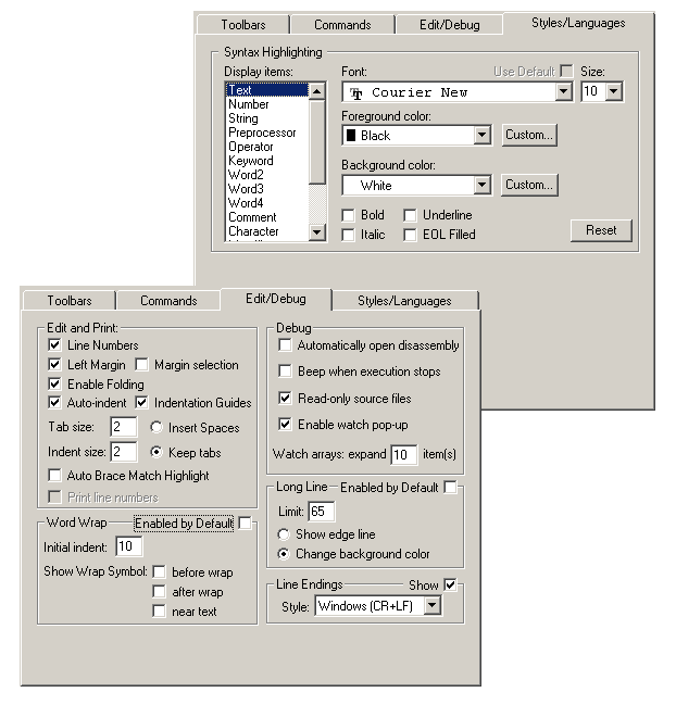 Your STVD graphical environment Table 17. Options window tabs (continued) Tab name Description Edit/Debug Styles/Languages Enable and disable Editor features related to debugging and editing.