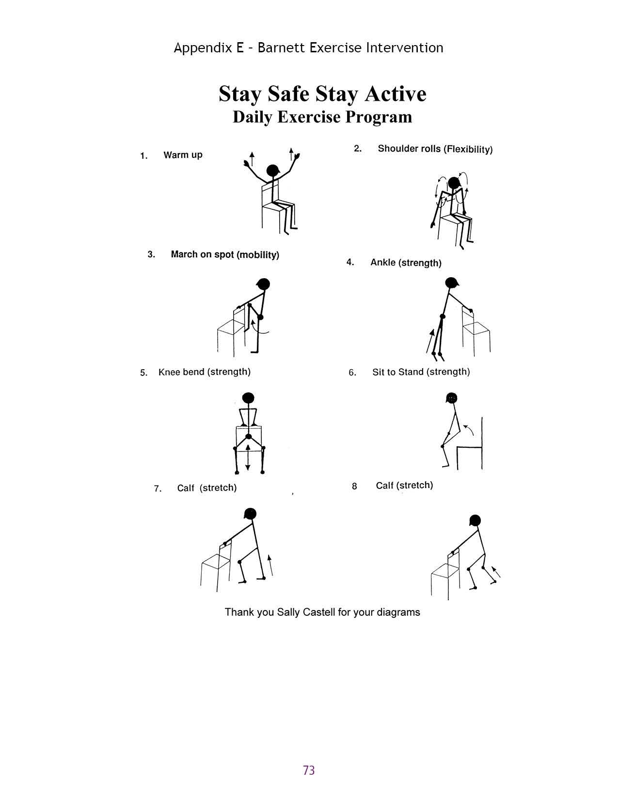 Appendix E - Barnett Exercise Intervention Stay Safe Stay Active Daily Exercise Program 1. Warm up t t 2. Shoulder rolls (Flexibility) 3.