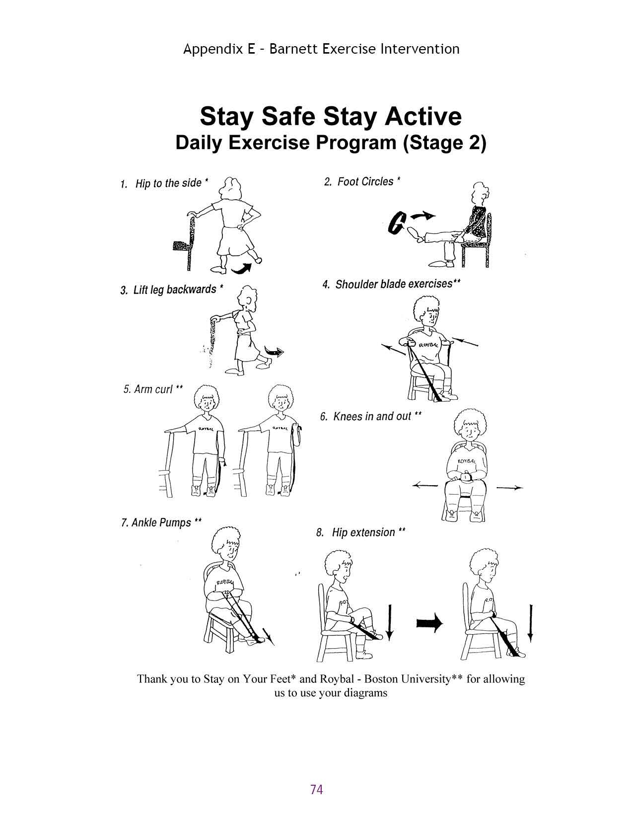 Appendix E - Barnett Exercise Intervention Stay Safe Stay Active Daily Exercise Program (Stage 2) 1. Hip to the side' 2. Foot Circles' 3. Lift leg backwards' 4.