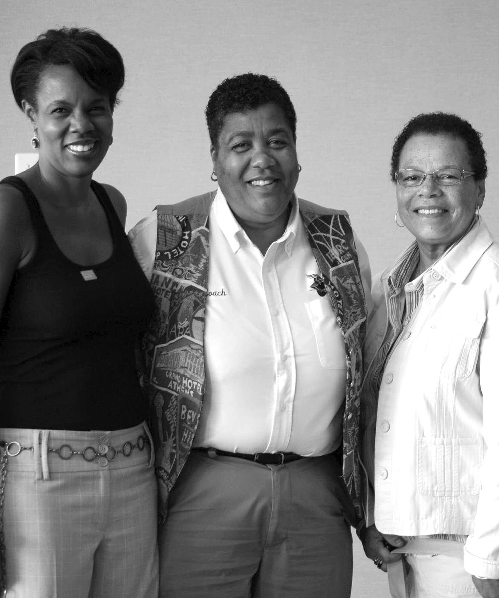 Pictured from left to right: Theresa Moore, producer of the film License to Thrive: Title IX at 35, with Beverly Wiley, former YWCA board president and Gail Davis,