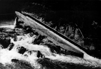 Chapter 7. Environmental impact 221 Photo 7.16 The Denil fishpass (Photo 7.16) consists of fairly steep, narrow chutes with vanes in the bottom and sides as illustrated in figure 7.6. These vanes dissipate the energy providing a low-velocity flow through which the fish can easily ascend.
