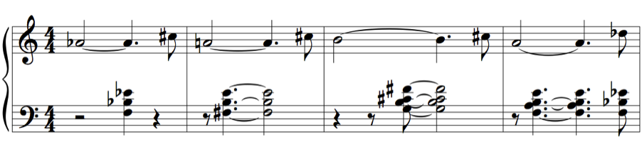 Figure 8. Hancock, The Sorcerer, mm.18-22 23 Kapustin and Evans share an affinity for voicing major and minor 7 th chords in the 4/2 inversion.