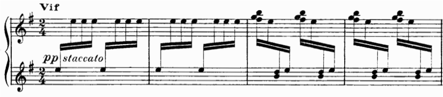 etude from Op. 40, the Toccatina, which also includes scrunch voicing.