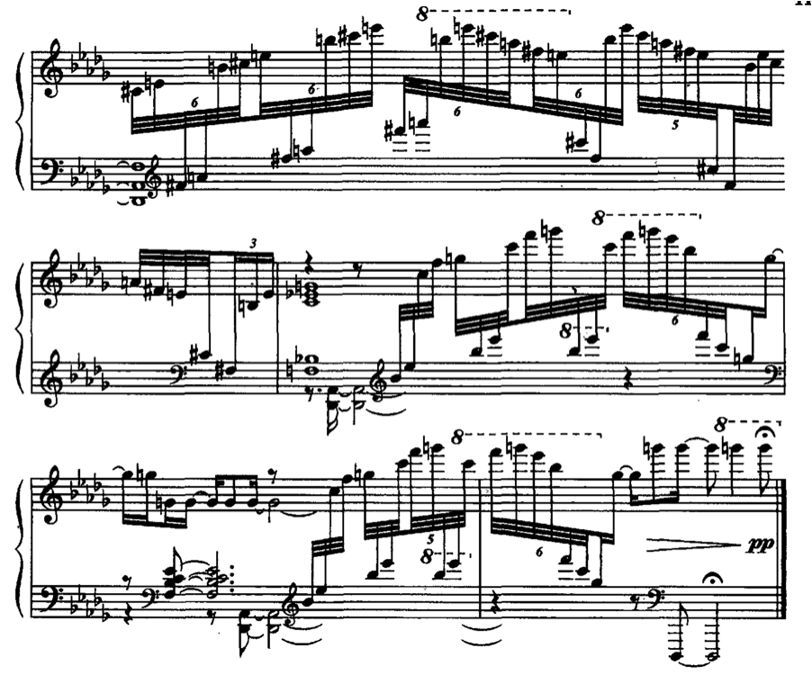 but Kapustin s hand crossing shows a keener awareness of what really works for the passage at hand (see Figure 39). Figure 39. Kapustin, Sonata No. 1, Op. 39, IV, m.