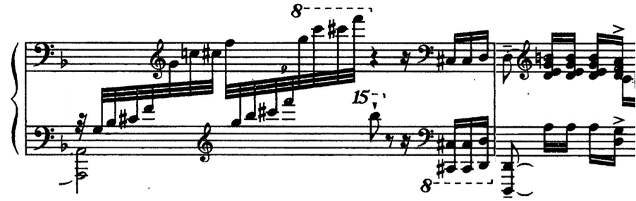 In his Etude VI ( Pastorale ) from Op. 40 this effect is evident. By the time we reach m. 51 the primary theme has been repeated and varied with increasing intensity.