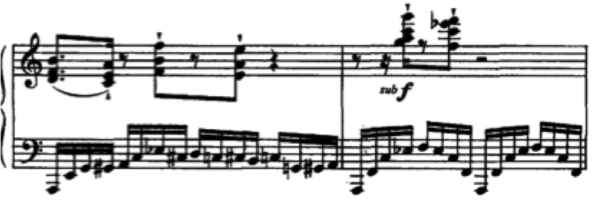 lighthearted. For instance, the left-hand passage in m. 4 implies a Gm7 chord in the first half of the bar, followed by a C9 on the third beat.