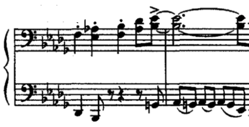 The B section gives way to a more relaxed melody over an occasionally almost atonal walking bass line. In mm.