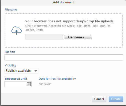 You can create a zip file for the appendixes, if you have multiple large files. Decide Visibility for your project.