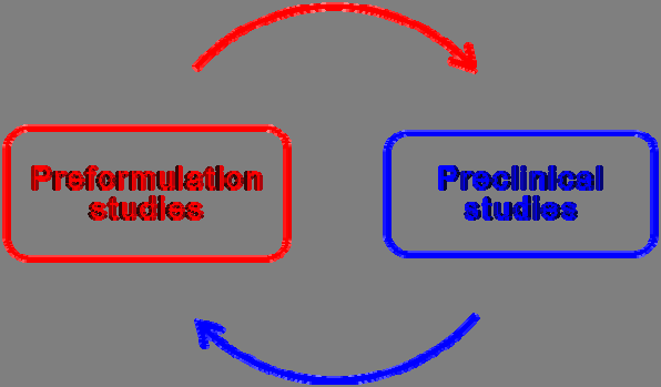 Figure 22: Feedback between preformulation and preclinical studies. This strategy is more valid when pharmacodynamics studies can be conducted in vitro (in controlled area).