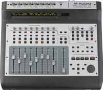 The intuitive control surface is comprised of eight touch-sensitive motorized channel faders and one master fader, eight assignable rotary encoders, a jog/shuttle wheel and dedicated transport