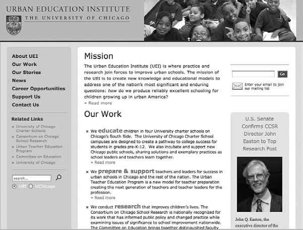 Institutions as Mobilizing Networks 133 Figure 5.1 Screenshot of the home page of the Urban Education Institute ( http:// uei.uchicago.edu/ index.shtml, accessed July 5, 2009).