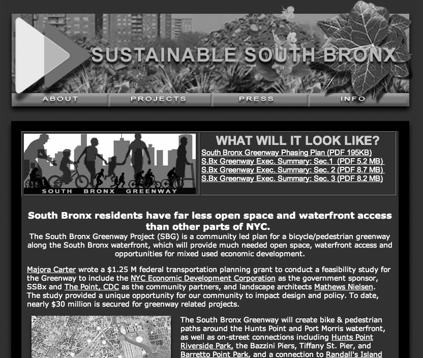 134 Chapter 5 Figure 5.2 Screenshot of the Sustainable South Bronx project ( http:// www.ssbx. org/ greenway.html, accessed July 5, 2009).