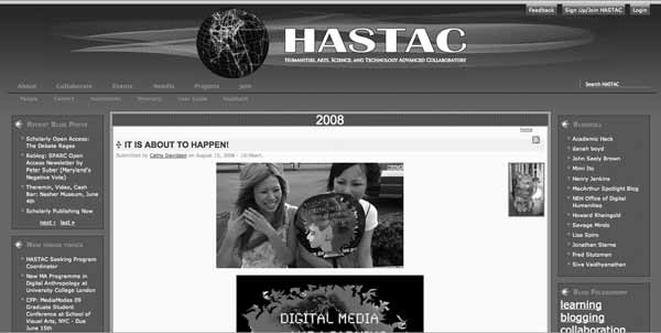 146 Chapter 6 Figure 6.1 Screenshot of HASTAC home page from 2008 ( http:// www.hastac.org, accessed June 15, 2008).