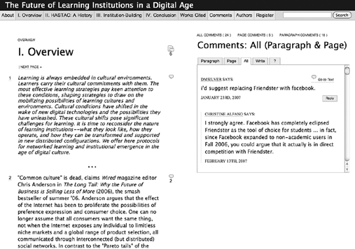 6 Chapter 1 Box 1 The Institute for the Future of the Book Figure 1.1 Screenshot of the first draft of the Future of Thinking project ( http:// www.futureofthebook.org, accessed on August 13, 2008).